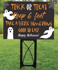This fun trick or treat lawn sign is the perfect outdoor Halloween party decoration for these crazy times. Let your trick-or-treaters know that you are passing out candy or that you have candy waiting for them to help themselves, all while keeping 6 feet apart from each other in line. See more party ideas and share yours at CatchMyparty.com #catchmyparty #partyideas #halloween #halloweenpartydecorations #outdoorhalloweenpartydecorations #partysupplies #halloweensign