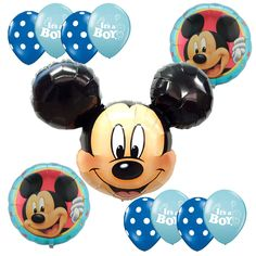 Baby Shower Supplies Mickey Mouse Blue Foil balloons Bouquet It's a Boy Dots #Anagram #BabyShower