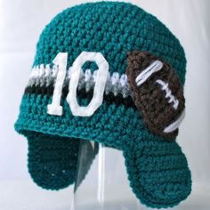 Football Number Hat from Micah Makes blog. I like it because it looks like an Eagles hat (DeSean Jackson #10)