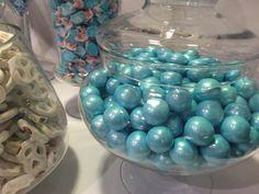 Light blue shimmering gum balls