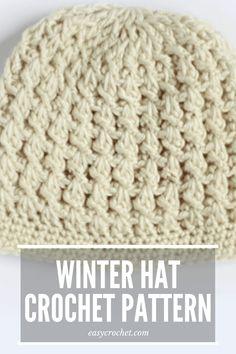 Winter Hat Beanie Crochet Pattern Free via # single crochet beanie pattern free Crotchet Beanie Pattern, Beanie Pattern Free, Crochet Baby Hat Patterns, Crochet Baby Hats, Crochet Ideas, Crochet Adult Hat, Crochet Winter Hats, Crochet Cap, Crochet Hat For Women