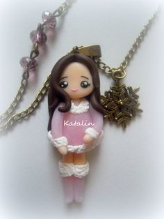 Winter chibi entirely handmade with polymer clay (FIMO). By Katalin Handmade (2013)