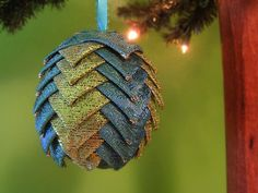Peacock paisley ribbon Christmas ornament by @kikiverde on Etsy. $20 #christmas #ornament #decoration #gift #handmade