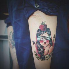 @Andrea / FICTILIS / FICTILIS / FICTILIS's BEAUTIFUL tattoo - be brave #blindfold #woman #apple