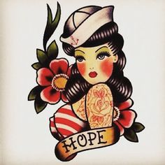 Hope Sailor Girl tattoo flash by Quyen Dinh