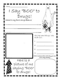 Here is a fun themed Red Ribbon Week poster/worksheet to use whole-class or as a station.  Great to use if your school is having a Halloween dress-up day during Red Ribbon Week!