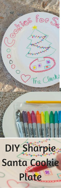 A DIY Santa Cookie plate made using Dollar Store plates. Combined with a milk mug, these crafts are the perfect holiday craft for kids. Your kids will love putting this plate out on Christmas Eve.