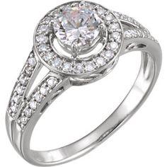 14K White 1/4 CTW Diamond Semi-set Engagement Ring for 5.2mm Round Center
