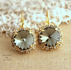 Beautiful Handcrafted 14k Yellow Gold Plated Drop #Earrings And Swarovski Crystal #DropDangle