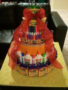 Teachers gift School supplies cake
