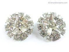 Vintage Large Clear Rhinestone Earrings Jewelry 1950s