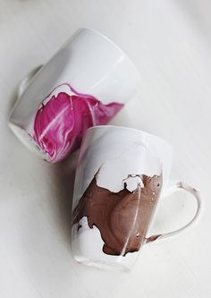 Water Color Coffee Cups #diy #crafy #coffee