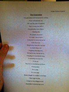 Just thought this was insanely clever, written by a 14 year old!!