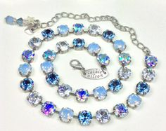 "Swarovski Crystal 8.5mm Necklace    Designer Inspired  - ""Faded Denim Blues"" - Pretty Denim Blue, Lt. Sapphire AB  -   FREE SHIPPING"