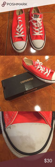 Reddish/orange Converse Low top converse worn once. Minor scuffs on the front that can be easily removed. Unisex shoe size 10 women's and 8 in men's Converse Shoes Sneakers