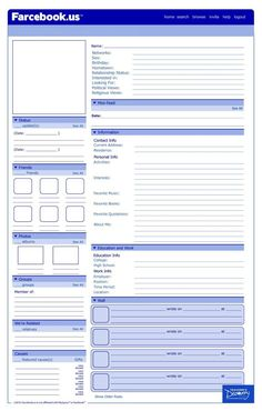 Facebook Template - Character profile for historical figures, characters in a novel or movie.