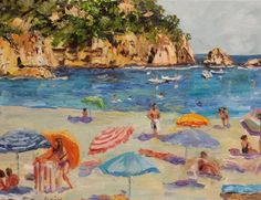 Oil painting of a Beach in Spain by St. Louis artist Kay Crain