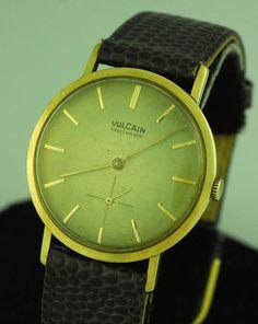 RARE Vintage 18K Gold Vulcain Exactomatic Mens Dress Wrist Watch No Scrap | eBay
