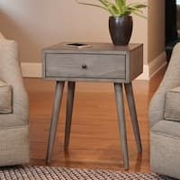 Bring retro style to your home with the fetching Decor Therapy Mid-Century One Drawer Side Table . This understated side table is crafted of solid and. Mid Century Modern Side Table, Modern End Tables, Small Tables, Metal Drawers, Storage Drawers, My Living Room, Living Room Furniture, Diy Furniture, Grey Side Table