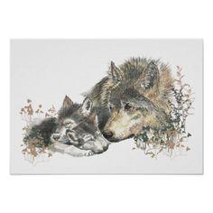 Watercolor Wolf & Cub Animal Art Poster
