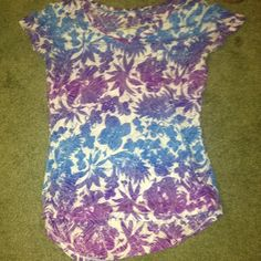 Blue and purple slightly see through flower shirt Worn a few times in great condition Maurices Tops