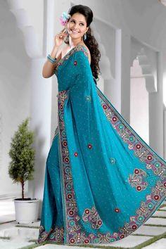 $264.85 Blue Resham and Stone Work Jacquard  Saree 22897