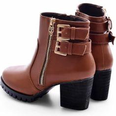 Designer Russet Leather High Heel Winter Gothic Punk Doc Martens Boots Women SKU-143461