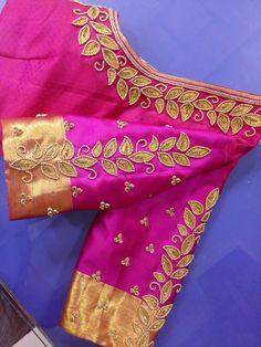 Designer blouse #pattern blouse # Bridal blouse # bead work blouse #leaf motif Simple Blouse Designs, Bridal Blouse Designs, Blouse Neck Designs, Magam Work Designs, Mirror Work Blouse Design, Pattu Saree Blouse Designs, Zardosi Work Blouse, Designer Blouse Patterns, Hand Embroidery