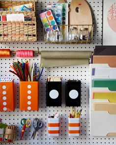 {kids' craft area} A CUP OF JO: Brooklyn apartment tour Craft Organization, Craft Storage, Basket Storage, Organizing Life, Paper Storage, Storage Ideas, Crafts For Kids To Make, Art For Kids, Craft Station