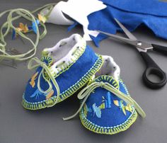 Baby Moccasins Blue & White with Butterflies  by dancingcatstudio, $23.00