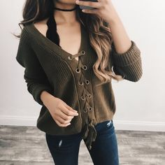 Jada Lace Up Sweater (Olive) – ootdfash