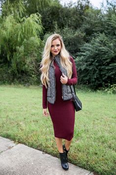 Red Midi & Herringbone Vest