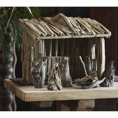 Driftwood Nativity Creche - Complete Set from Roost This is a rustic, but gorgeous nativity set made from real drift wood with 6 figures and the stable structure. Driftwood Christmas Tree, Christmas Nativity, Christmas Holiday, Beach Christmas, Xmas, Driftwood Projects, Driftwood Art, Ocean Home Decor, Nautical Christmas