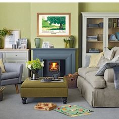 Olive green and grey living room.. personally I wouldn't add quite so much green though, maybe just the alcoves?