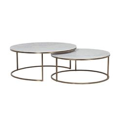 Elle Nesting Coffee Tables White & Brass