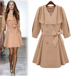 Morpheus Boutique  - Beige 3/4 Sleeve Trench Double Breasted Celebrity Pleated Belted Coat