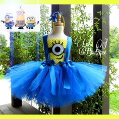 Minion Tutu Dress SET - ALL Girls Costume Sizes Infant Toddler Blue Yellow Bob Stuart Kevin Scarlet Overkill Gru Dress Up Headband