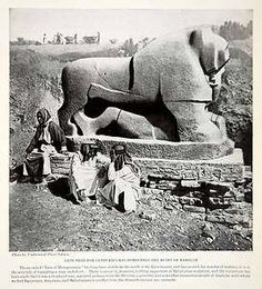 1924 Print of the Lion of Babylon, a 2600 yr-old black basalt statue of a lion trampling a man, and is among the most celebrated archaeological artifacts in the history of modern Mesopotamia since its discovery by local villagers in the early 20th century. The irony is that the basalt statue does not seem to be of Mesopotamian or Babylonian origin. Most archaeologists believe that the statue is a leftover from the Hittites' presence in Babylon when they sacked the city in the 2nd millennium…