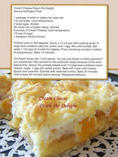 Cream Cheese Peach Pie Delight - I made this today and it is really really good!!!!! ~Claudia