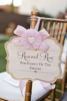 Generally guests know not to sit in the front row but you can add a decorative signs reserving the row for grooms family and brides family as a nice touch #weddingceremony #weddingideas