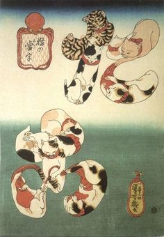 Utagawa Kuniyoshi (Japanese Ukiyo-e Printmaker, / Cats forming the caracters for Octopus (tako), from the series Cat Homophones (Neko no Ateji) Anime Neko, Japanese Animals, Japanese Cat, Japanese Beauty, Japanese Tattoo Art, Japanese Painting, Asian Cat, Kuniyoshi, Japanese Prints