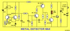 """a transformer) increasing the supply to a higher voltage to illuminate one or two LEDs in series. The """"LED Basic Electronic Circuits, Electronic Circuit Projects, Electronic Schematics, Electronic Engineering, Arduino Projects, Simple Electronics, Electronics Basics, Electronics Components, Metal Detektor"""
