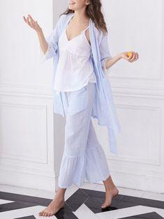 bf0ed00484 Lace Insert Plaid Pajama Set - POWDER BLUE L