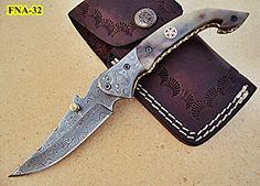 Limited Edition - FNA-32 Custom Handmade Damascus Steel Folding Knife - Beautiful Camel Bone Handle with Damascus Steel Bolsters