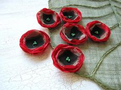 Handmade fabric flower appliques, floral embellishments, fabric appliques, shabby chic flowers (6 pcs) - RED WILD POPPIES