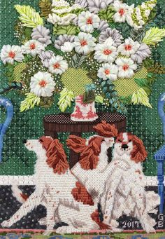 Ciao Bella needlepoint canvas by CBK, stitched by Ginger Brennecke. Needlepoint Stitches, Needlepoint Canvases, Needlework, Silk Ribbon Embroidery, Diy Embroidery, Fabric Scraps, Scrap Fabric, Fabric Art, Textile Art