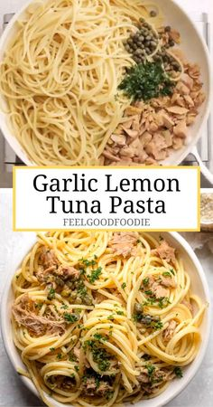 Garlic Lemon Tuna Pasta is a meal loaded with Mediterranean flavor. You can make it with basic pantry ingredients - an easy weeknight dinner the family will love! Dinner Recipes Easy Quick, Quick Easy Meals, Meat Recipes, Healthy Dinner Recipes, Easy Weeknight Dinners, Easy Meals For One, Healthy Family Dinners, Shrimp Recipes, Cooking Recipes