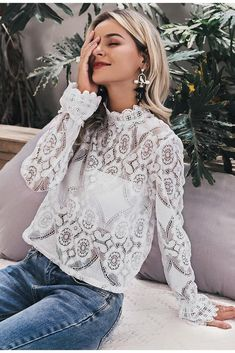 Grande Magazino Simplee Elegant white lace blouse shirt Sexy hollow out embroidery feminine blouse Women long lantern sleeve summer tops female White Lace Blouse, Sheer Lace Top, Lace Tops, Eyelet Lace, Leopard Blouse, Chemises Sexy, Sexy Shirts, Look Chic, Lace Sleeves