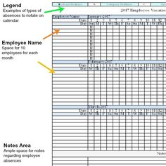2017 Employee Vacation Absence Tracking Calendar Spreadsheet Track Your Employees Attendance Using Our