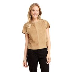 Sam Edelman Suede Cross Back Tee Tan